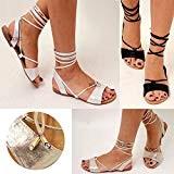 Sandales plates femmes - style spartiates - lanières/à nouer - aspect métallique