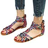 Sandales Plates Multicolore,Overdose Été Bohême Chaussures Style Gladiateur en Cuir Femme Casual Tongs Plage Flat