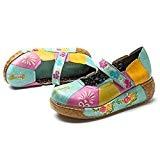 Socofy Chaussures de Ville Femme Fille, Mary Jane en Cuir À Motif Fleurs Talon Compensé Loafters Clogs Sandales Ballerines Printemps ...