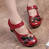 Socofy Chaussures de Ville Femme, Mary Jane en Cuir à Fleurs Escarpins Talon Moyen Sandales 36-42 - Noire Rouge (Grille ...