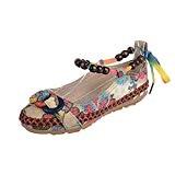 Sonnena(FR) Sandale Bohême Femmes Perlées Espadrilles Ethniques en Coton Brodées à Bout Rond Chaussures Filles Multicolore 35-42
