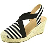 Sopily Chaussure Mode Espadrille Sandale Elastique Plateforme Hauteur Cheville Femmes Corde Talon Compensé Plateforme 7.5 cm - Noir et Blanc