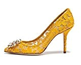 uBeauty Escarpins Dentelle Femmes Diamant Pointues Toe Chaussures de Mariage Stilettos Usure Parti