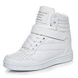 UBFEN Chaussures Femme Compensées Basket Montante Sport Sneakers Wedge Heels Plat Scratch Talon Compensé 7 cm Noir Blanc Rose
