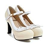 UH Femmes Mary Jane Escarpins Chunky Heel Platform High Heels Avec des Chaussures Rockabilly Vintage Bow