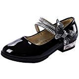 wealsex Chaussures Cérémonie Scratch Bijoux Cuir Vernis Fille Chaussure Princesse Nœud Mariage Anniversaire Mary Jane Ballerine Bout Ronde