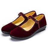XFentech Femme en Velours Walk Confort Mary Jane Classique Plat/Talon Compensé Sandales Chaussures