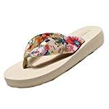 YOUJIA Femmes Tongs Été Chaussures de Plage Bohême Satiné Plateforme Sandales