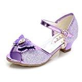 Yy.f YYF enfant Fille Ballerine Chaussure de Princesse a Talon Avec Papillon Paillette pour Printemps Et Ete