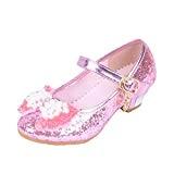 Yy.f YYF Fille Ballerine Chaussures à Talon à Déguisement Princesse avec Nœud Papillon Paillettes Pour Enfant Fille