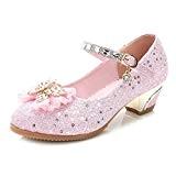 Yy.f YYF Fille Ballerine Chaussures à Talon Déguisement Princesse avec Nœud Papillon Paillettes Pour enfant Fille