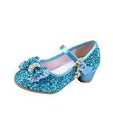 Yy.f YYF Fille Chaussures Ballerine a Talon avec Paillettes Brillants Respirable Comfortable