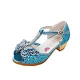 YYF Enfant Fille Sandale a Talon Ballerines Chaussures de Princesse Reine de Neige Comfortable