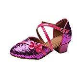 YYF Fille Enfant Ballerine Sandale Confortable Chaussure de Ballet a Talon