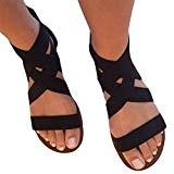 Yying Femme Romain Sandales Été Chaussures - Femmes Plate Sandales Peep-Toe Sandales, Confortable Élastique Strappy Décontractée Plage Sandales